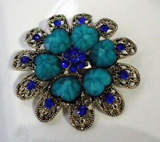 Vintage Victorian Style Brooch Aqua Heart Design Beautiful Floral Flower Crystal