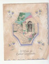 A Wish for Easter Happiness Flowers House Folding Vintage Greetings
