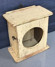 VINTAGE INDIAN ART DECO CLOCK BOX. DISTRESSED PRIMROSE. SMALL DISPLAY CABINET.