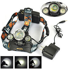 Rechargeable 10000Lm 3xXML T6+2R5 LED Headlamp Headlight Head Torch Lamp+Charger