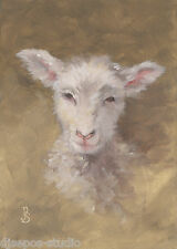 """Daily Painting a Day Sepos """"Soft & Sweet, Wooly Lamb"""" barnyard sheep portrait"""