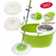 360° Rotating Magic Spin Mop Stainless Steel Dehydrate Basket W/Bucket 2 H