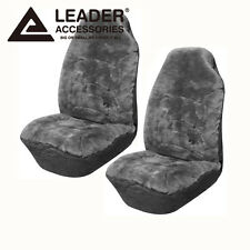 Car Seat Covers A Set Front  fit Ford Cars High Back Australian Sheepskin Gray