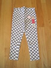 Girl WHITE POLKA DOTS GRAY stretch leggings pants NWT 4 5