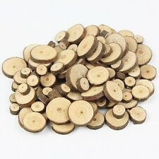 100pcs 1-3cm Wooden Slices Circles  with Tree Bark Log Discs wooden pieces