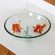 "1/2"" Thick Tempered Etched Gold Fish A15 Glass Vessel Sink with Free Drian/ring"