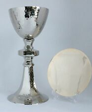 Hammered Chalice and Paten Set Gold and Nickel Plated