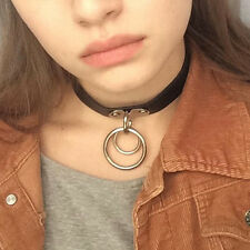 Classic Punk Rock Dark Harajuku Double O RING Leather Collar Choker Necklace L7S