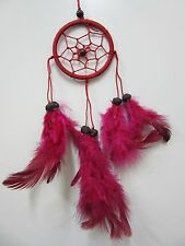 Small Nylon Red Coconut Bead 6cm Web Dream Catcher 32 cm Total Length