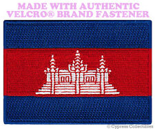 CAMBODIA NATIONAL FLAG PATCH CAMBODIAN EMBROIDERED w/ VELCRO® Brand Fastener