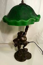 Frog table lamp. 1999 Tin chi bronze frog table lamp. original Lilly pad shade.