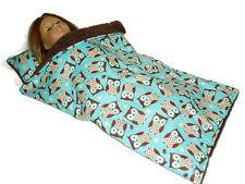 Aqua Owls Sleeping Bag fits American Girl Dolls 18 inch Doll Clothes