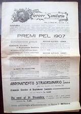 1907 RIVISTA 'CORRIERE SANITARIO' MEDICINA ABORTO SIFILIDE EMORRAGIE NASALI....