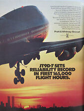 9/1972 PUB PRATT & WHITNEY JT9D-7 ENGINE BOEING 747B TWIN TOWERS WTC NEW-YORK AD