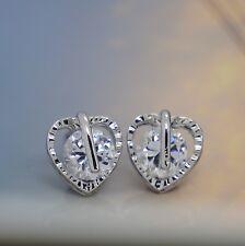 Women Fashion 925 Sterling Silver SWAROVSKI CRYSTAL Heart Shape Stud Earrings