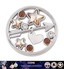 COIN COINS MÜNZEN Silber Pfeil Herz Kristall 33mm kompatibel mit Quoins Moneda
