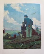 "NORMAN ROCKWELL ""OUTWARD BOUND"" 1973 Plate Signed Collotype Art"