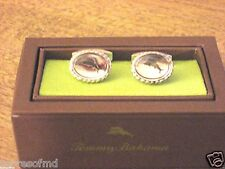 Tommy Bahama Mens Marlin Cufflinks Silver Rope Engraved Whale Back NIB Free Ship