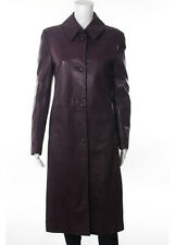 GIANNI VERSACE Plum Purple Leather Knee Length 2 Pocket Button Down Coat Sz S