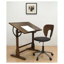 Vintage Drafting Table Chair Architect Drawing Desk Rustic Wood Office Furniture
