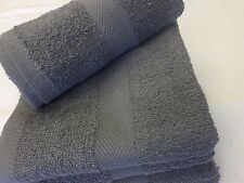 6 NEW GRAY SALON HAND TOWELS DOBBY BORDER RINGSPUN COTTON 16X27 3LBS