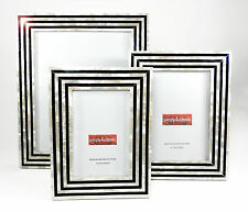 Genuine Mother of Pearl  Black & White Art Deco  Picture Frame 8X10  Photo NEW!
