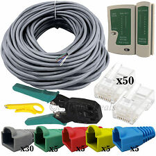 50M RJ45 Network Cat5 Lan Cable Tester Crimper Stripper Free Boots & Connectors