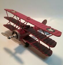 tin metal red ww1 propeller tri plane vintage