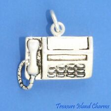 FAX TELEPHONE MACHINE OFFICE 3D .925 Sterling Silver Charm NEW