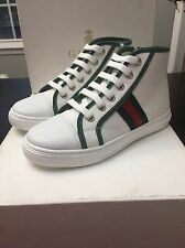 NEW GUCCI KIDS  S.GOMMA WHITE GREEN RED HIGH-TOP SNEAKERS SHOES  SIZE 32