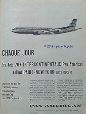 PUBLICITE PAN AMERICAN AVION JET 707 PARIS NEW YORK DE 1960 FRENCH AD ADVERT PUB