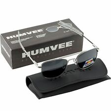Humvee Military Pilot Silver Frames 52 mm Sunglasses Metal Polarized Lens w Case