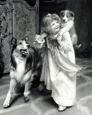 Print Bedtime Piggy Pick a Back Victorian Girl Playing w Rough Collie Puppy Dog