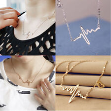 Women Fashion Gold ECG Heart Beat Pendant Necklace Anniversary Birthday Gift