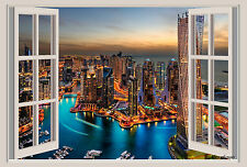 54x36 Dubai City Lights Window View Repositionable Color Wall Sticker Wall Mural