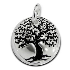 Celtic Tree of Life Tiny Round Sterling Silver Pendant Charm & Necklace