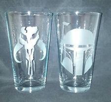 Star Wars Boba Fett Set Of 2 Etched Pint glasses- Movie-Video Game-cartoon