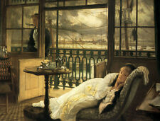 Beautiful Oil painting Tissot - A Passing Storm girl on sofa canvas 36""