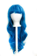 "27"" Long Layered Wavy Cut with Short Bangs Turquoise Blue Wig Cosplay NEW"