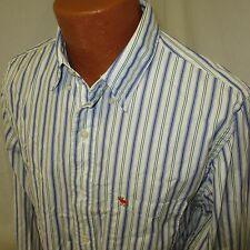 (Large) Men's Abercrombie Fitch Button Down Muscle Fit Blue Green Striped