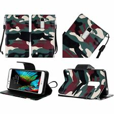 For LG K10 Premium Leather Wallet Case Pouch Flip Phone Cover Accessory