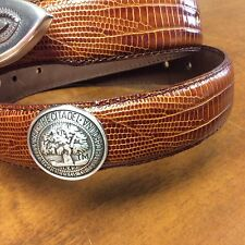 Brn Genuine Leather Belt with Military College Of South Carolina Conchos  32 LE