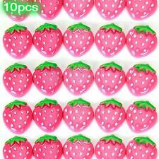 10 pink resin strawberry flatback Button craft bows