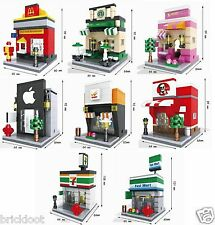 8 Lot Lego Compatible City Town Mini Modular Buildings Stores - Brick Blocks DIY