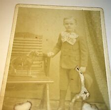 Antique Victorian American Young Boy with Large Horse Toy! PA Cabinet Card Photo