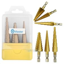 "3Pcs Set Steel Titanium Nitride Coated Step Drill Bit Quick Change 1/4"" Shank"