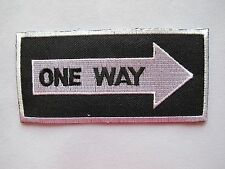 "#2348 Traffic Sign ""ONE WAY"" Embroidery Iron On Applique Patch"
