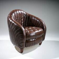 Tufted Distressed Brown Top Grain Leather Tub/Barrel Design Chair