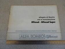 ALFA ROMEO ALFASUD - SUPER 1980 ALLEGATO MANUALE USO MANUTENZIONE ORIGINALE