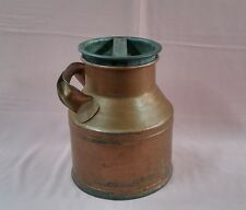Nice RARE ANTIQUE DAIRY CREAM CAN MILK JUG Side HANDLE + COVER HEAVY METAL FARM